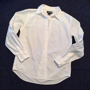 Lands' End Women Crispy White Button Down Shirt
